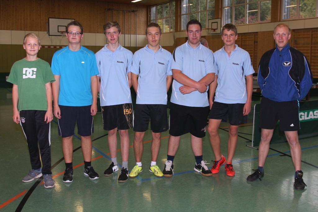 Jugendmannschaft (v.l.n.r.): Thomas Huber, Thomas Kühhorn, Erik Grieser, Nico Greiner, Fabian Rieß, Jakob Grießhammer und Trainer Markus Zeitler
